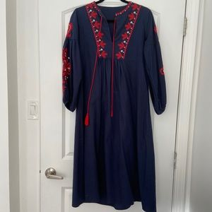 SHEIN embroidered navy dress, size Large